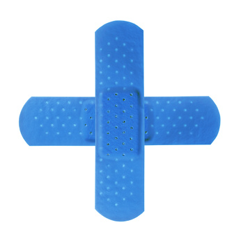 2 blue bandages making blue cross